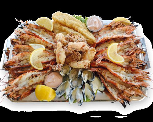 Πιατέλα Κέρκυρα - Γαρίδες Πρίγκηπας, Μύδια σως μουστάρδας, φιελέτο ψαριου, καλαμαρι τηγανιτό