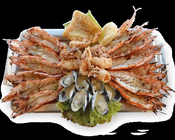 Πιατέλα Μύκονος - Γαρίδες Βασιλιας, Γαριδες Πριγκηπας, Μυδια, Φιλετο Ψαριου, Καλαμαρι τηγανιτό - Ψαροταβέρνα Island Basket