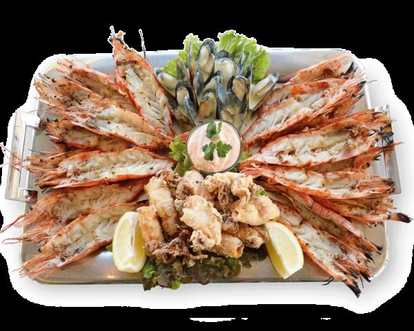 Πιατέλα Ρόδος με Γαρίδες, Καλαμαρακι Τηγανητο, Μύδια - Ψαροταβέρνα Island Basket Λούτσα - Αρτέμιδα