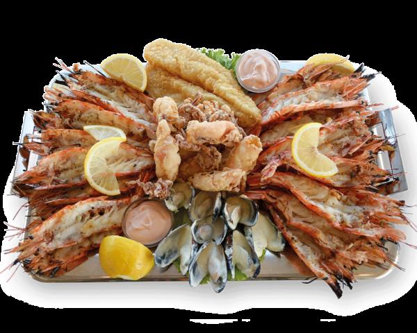 Πιατέλα Σαντορίνη - Γαρίδες, Μυδια, Καλαμαρακι Τηγανιτο, Φιλετο Ψαριου